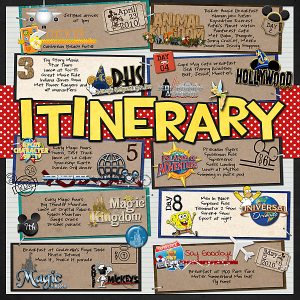 April 2010 Itinerary Mousescrappers Disney Scrapbooking Gallery