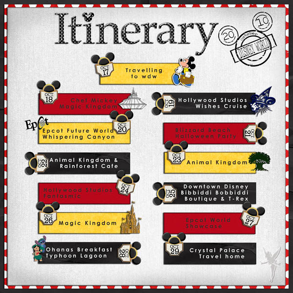Itinerary  Mousescrappers  Disney Scrapbooking Gallery