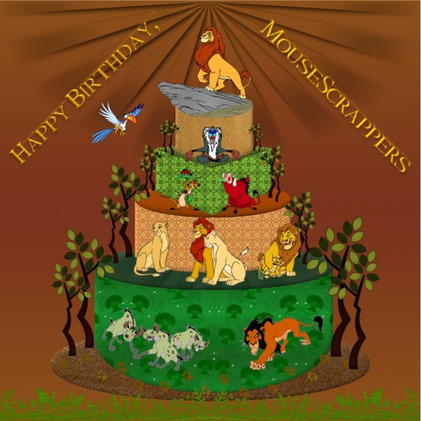Happy 2nd Birthday MouseScrappers Cake Lion King Edition - Lion King Wedding Cake