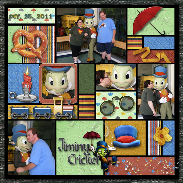 Jiminy Cricket scrapbook page using template