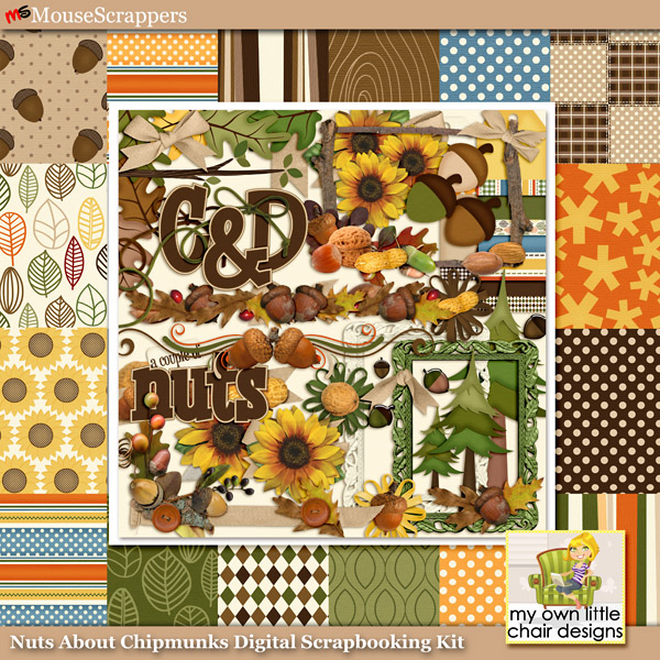 Nuts About Chipmunks Digital Scrapbooking Kit