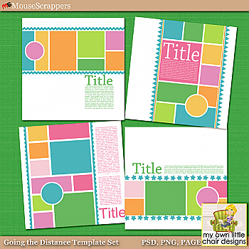 Going the Distance Layered Digital Scrapbooking Templates