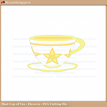 Mad Cup of Tea (floral) - PNG and SVG cutting files